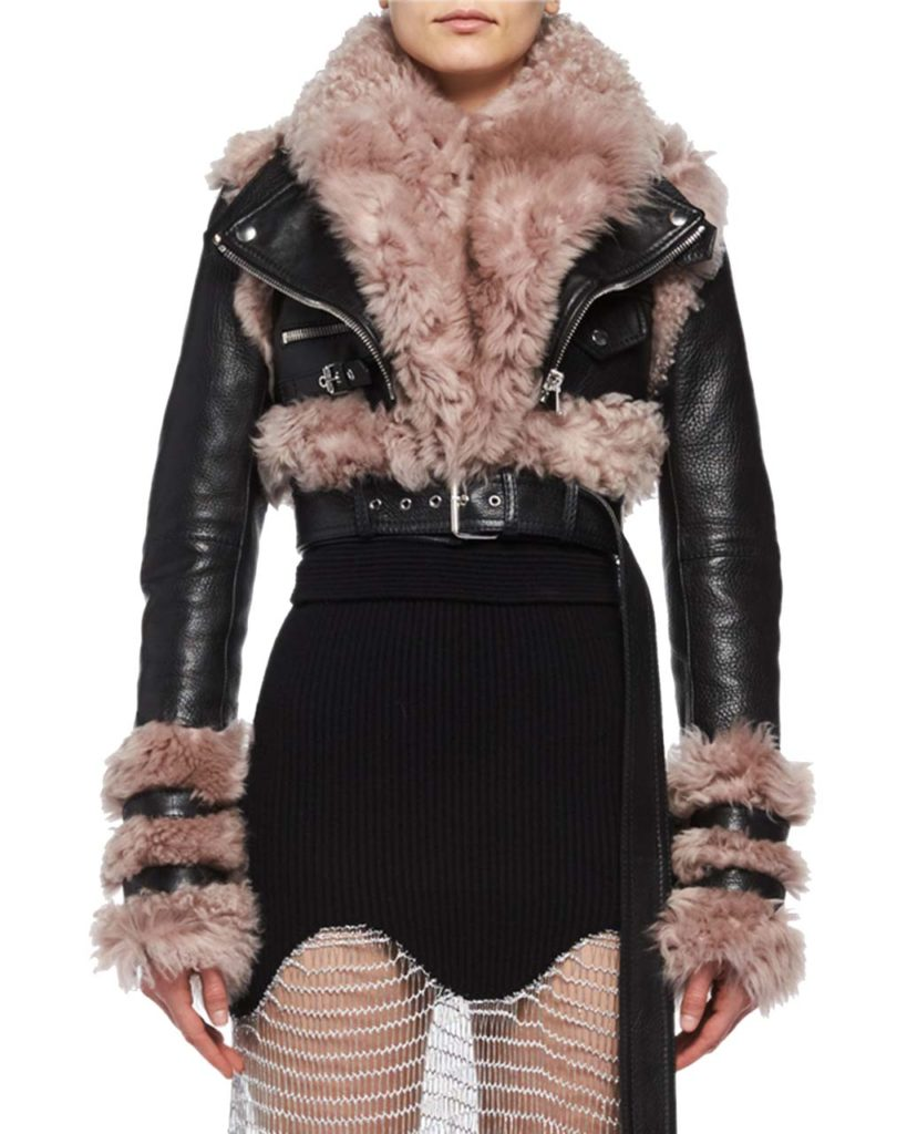 Alexander McQueen Shearling & Leather Cropped Moto Jacket