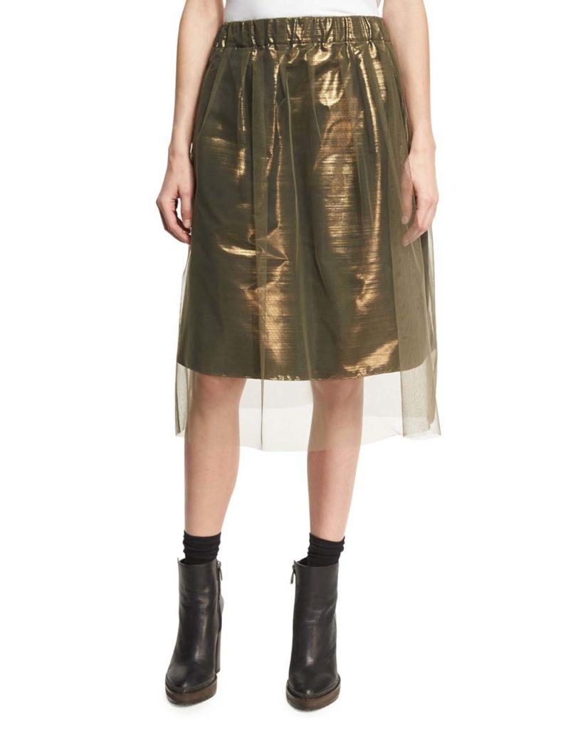 Brunello Cucinelli Iridescent Metallic Taffeta Skirt with Tulle Overlay