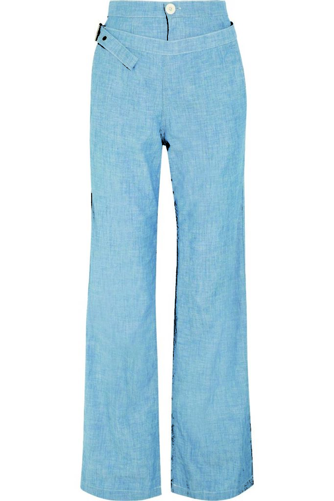 Chloé Cotton-Chambray Wide-Leg Pants_1