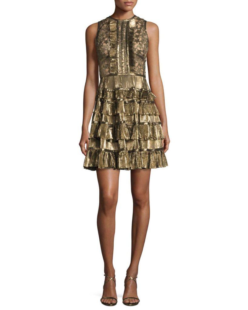 Elie Saab Sleeveless Metallic Star-Lace Ruffled Dress