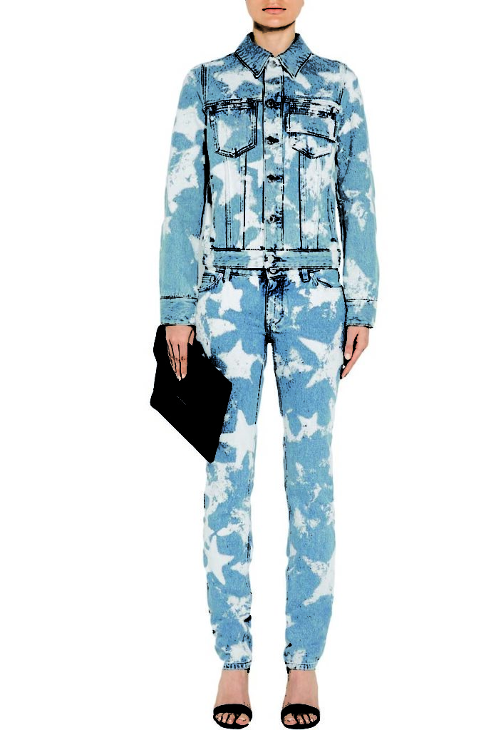 Givenchy Bleached Denim Jacket and Printed Low-Rise Skinny Jeans_1