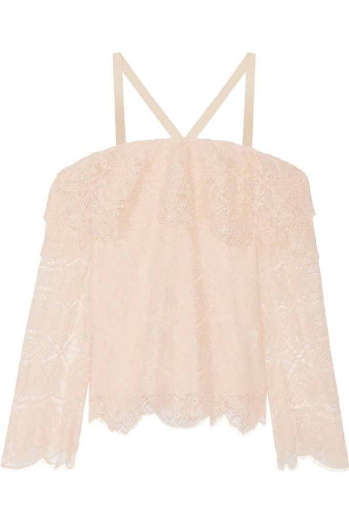 Jonathan Simkhai Off-the-Shoulder Corded Lace Top