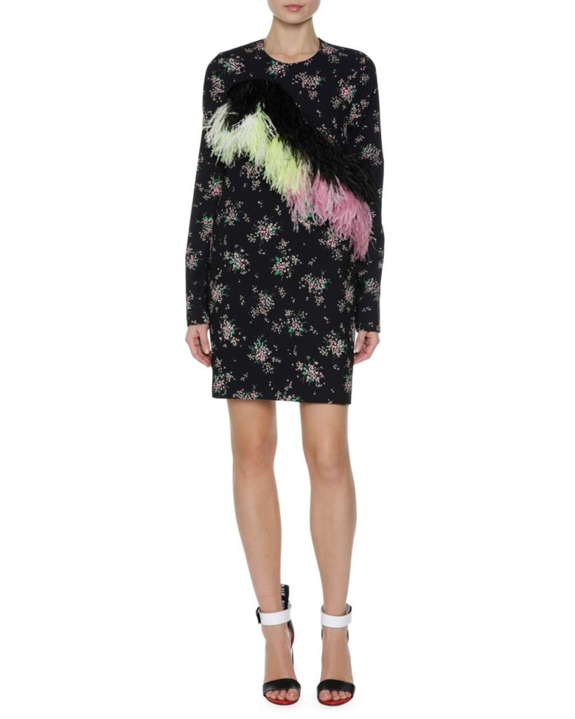 MSGM Floral Print Sheath Dress Model