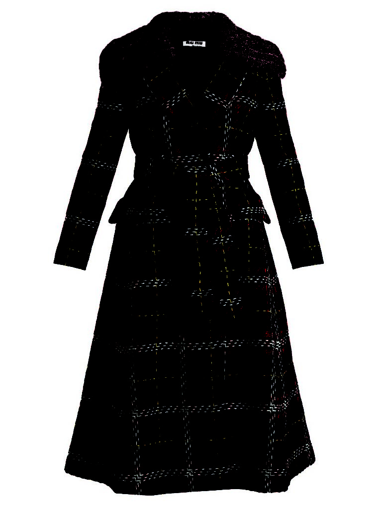 Miu Miu Tweed Tartan-checked Detachable-collar Wool Coat_1