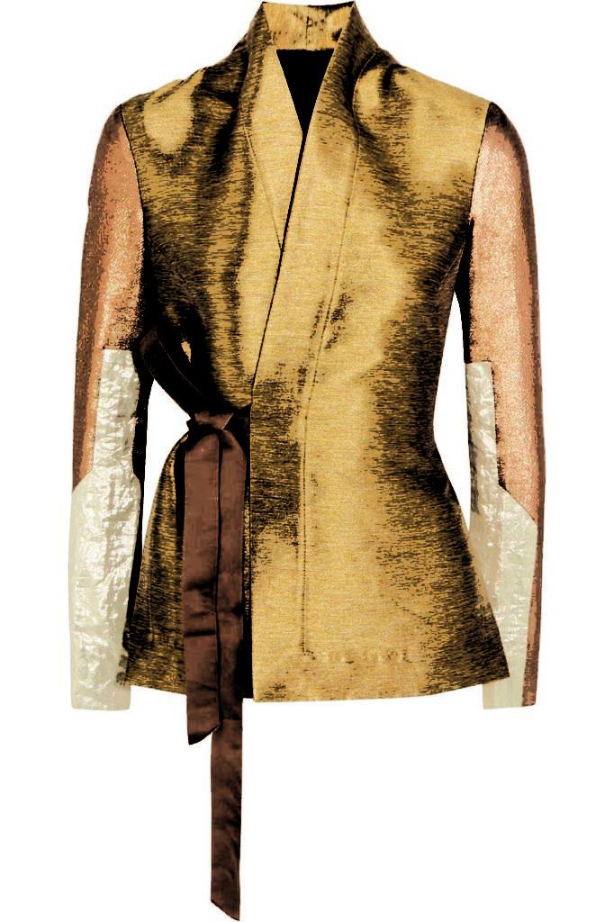 Rick Owens Metallic Lamé and Cotton Blend-Paneled Shantung Wrap Jacket_1