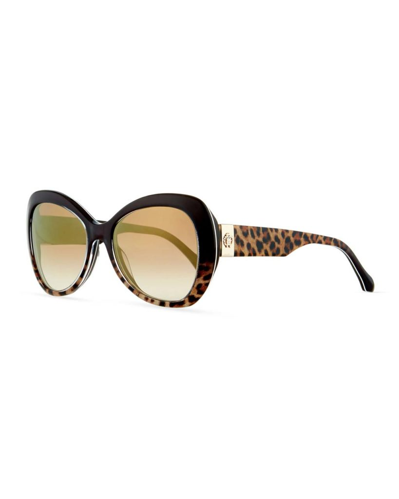 Roberto Cavalli Two-Tone Leopard-Print Butterfly Sunglasses