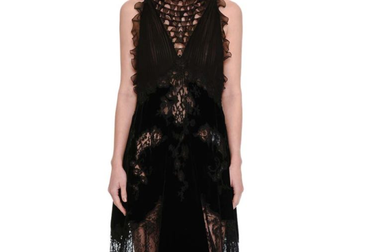 Valentino Lace & Chiffon Mock-Neck Gown with Velvet Trim