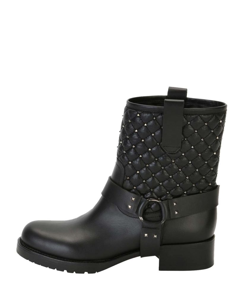 Valentino_Rockstud Quilted_Moto Boot1