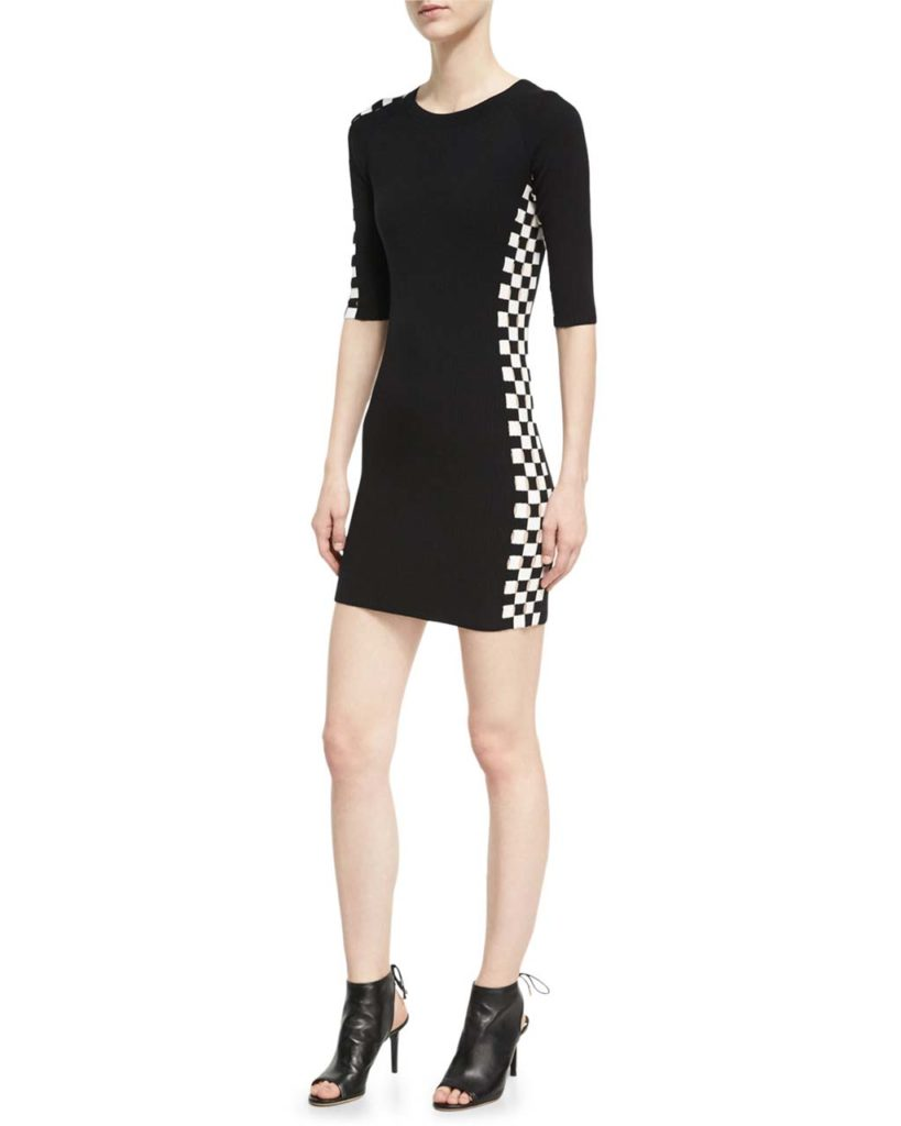 Alexander Wang Checkerboard-Paneled Mini Dress