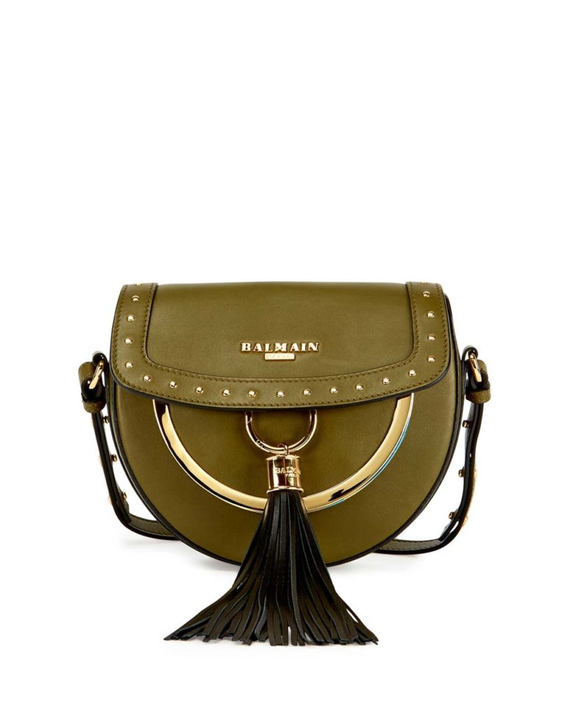 Balmain Domain 18 Leather Saddle Bag