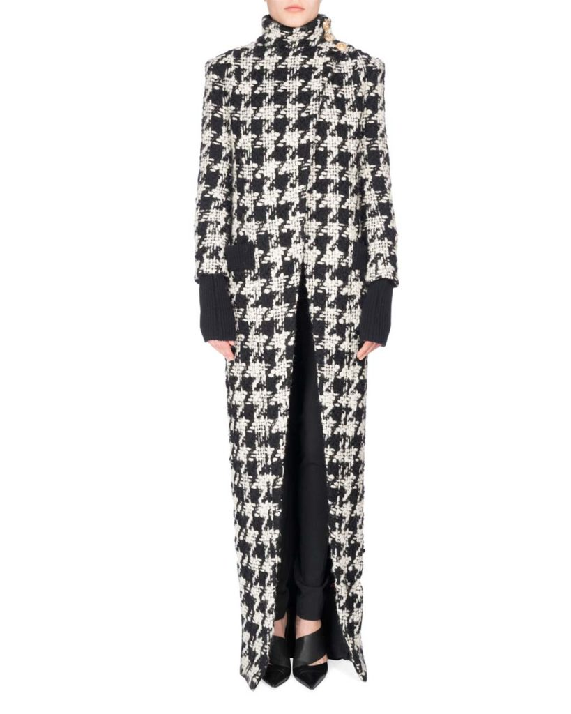 Balmain Long Oversized Houndstooth Coat