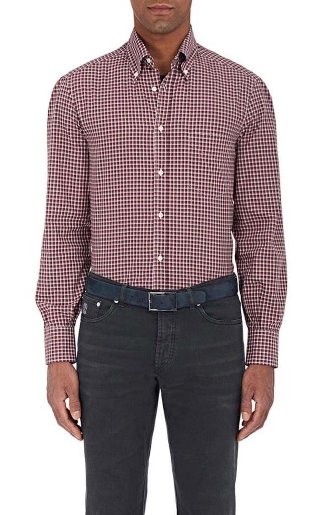 Brunello Cucinelli Checked Cotton Twill Shirt