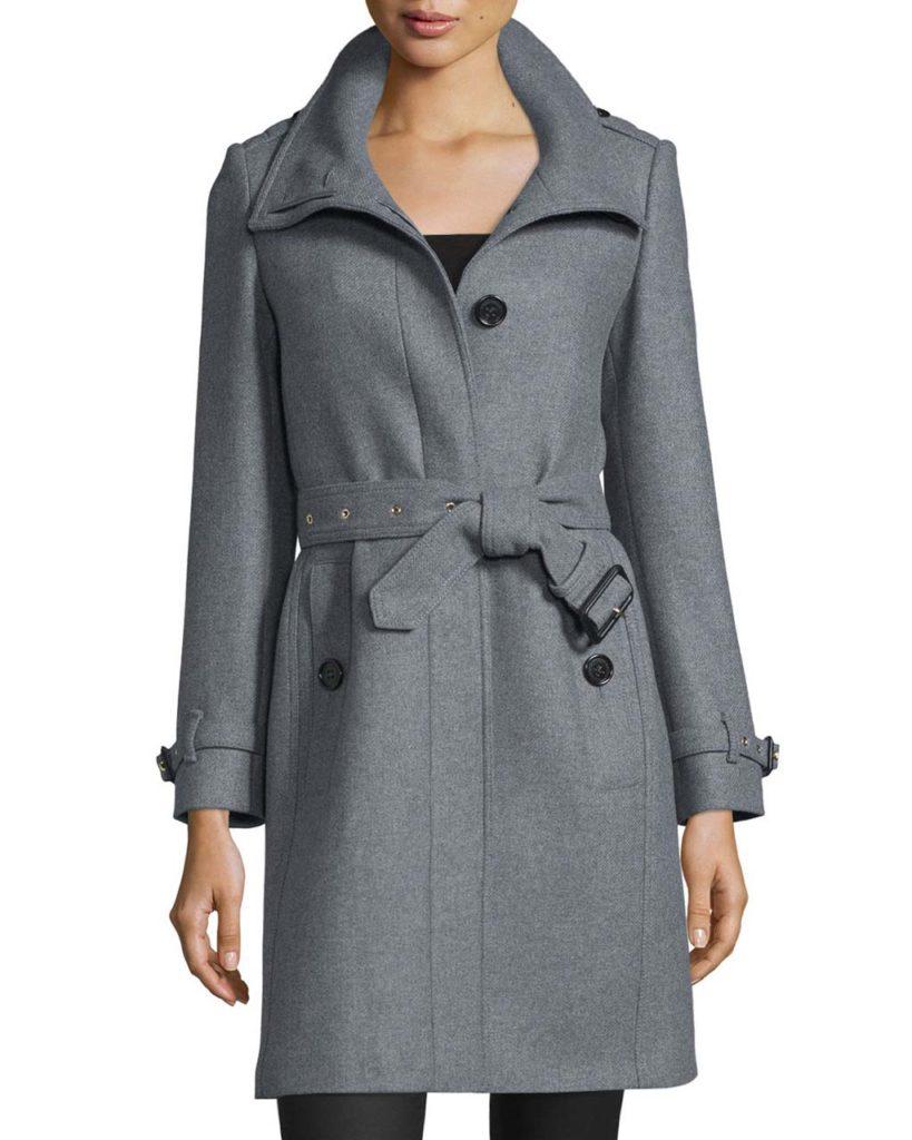 Burberry Gibbsmore Wool-Blend Single-Breasted Coat, Steel Gray Melange