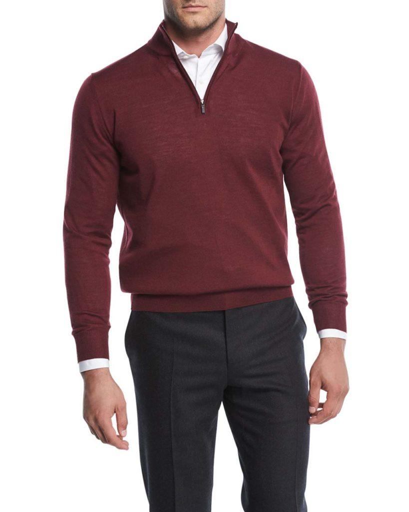 Canali Wool Half-Zip Sweater