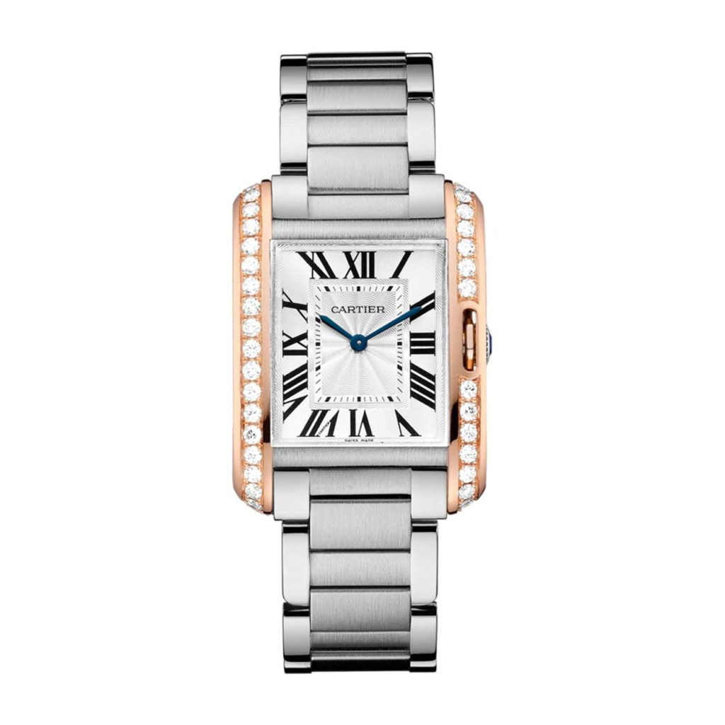 Gary Michaels Jewelry Cartier Tank Anglaise in Steel & Pink Gold with Diamonds