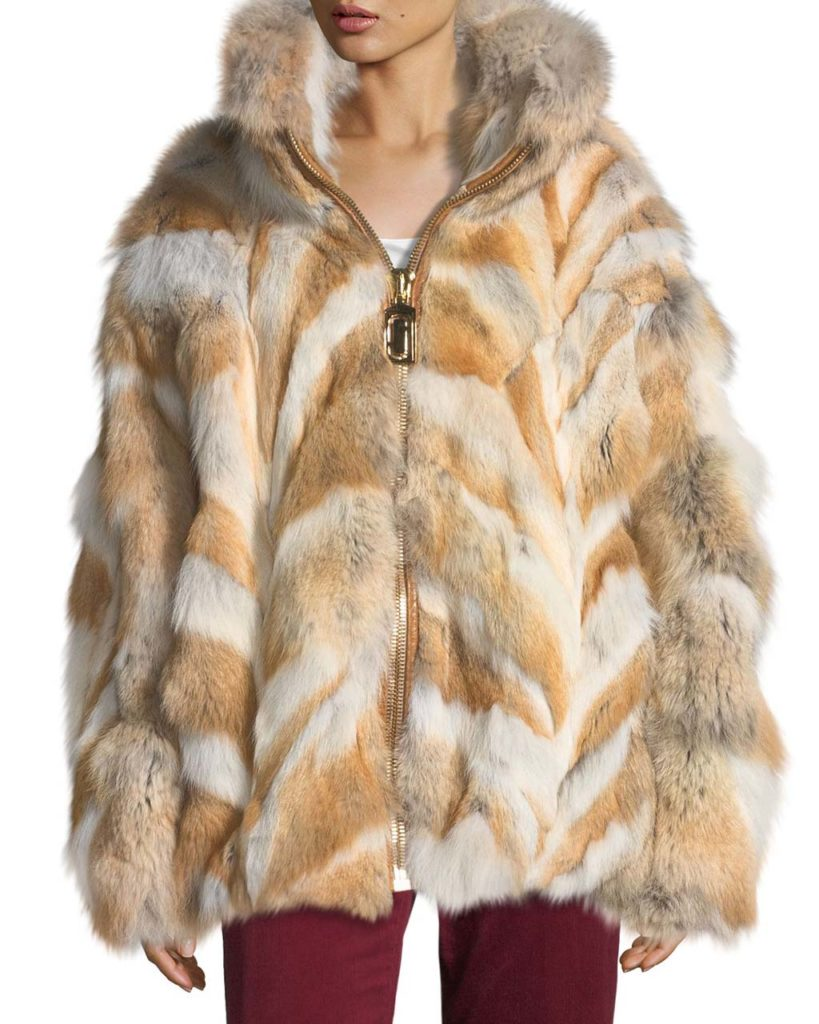 Marc Jacobs Zip-Front Coyote Fur Coat