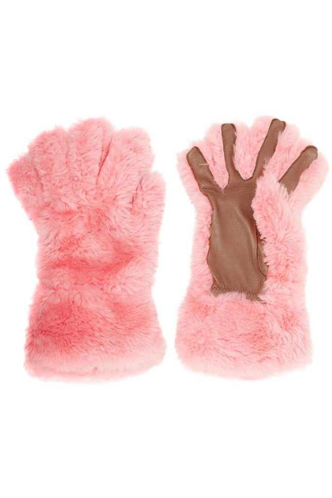 Marni Leather-Trimmed Shearling Gloves
