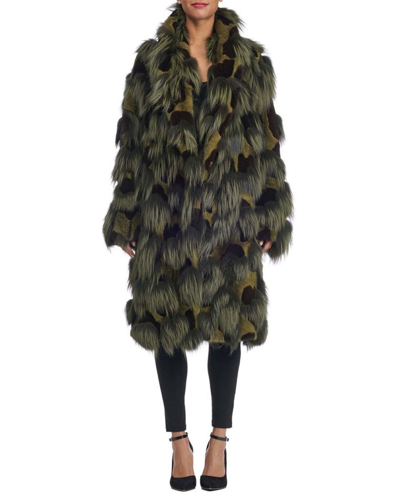 Michael Kors Collection Cross Mink and Dyed Arc Coat