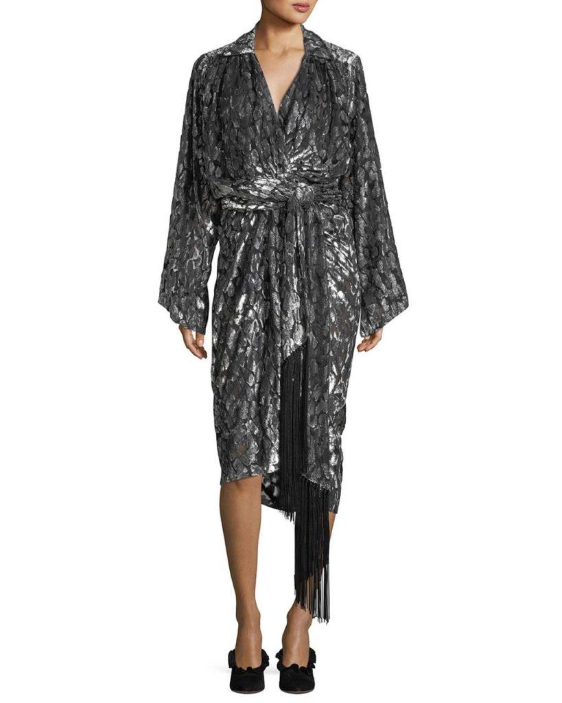 Michael Kors Collection Leopard Velvet Fil Coupe Kimono Wrap Dress