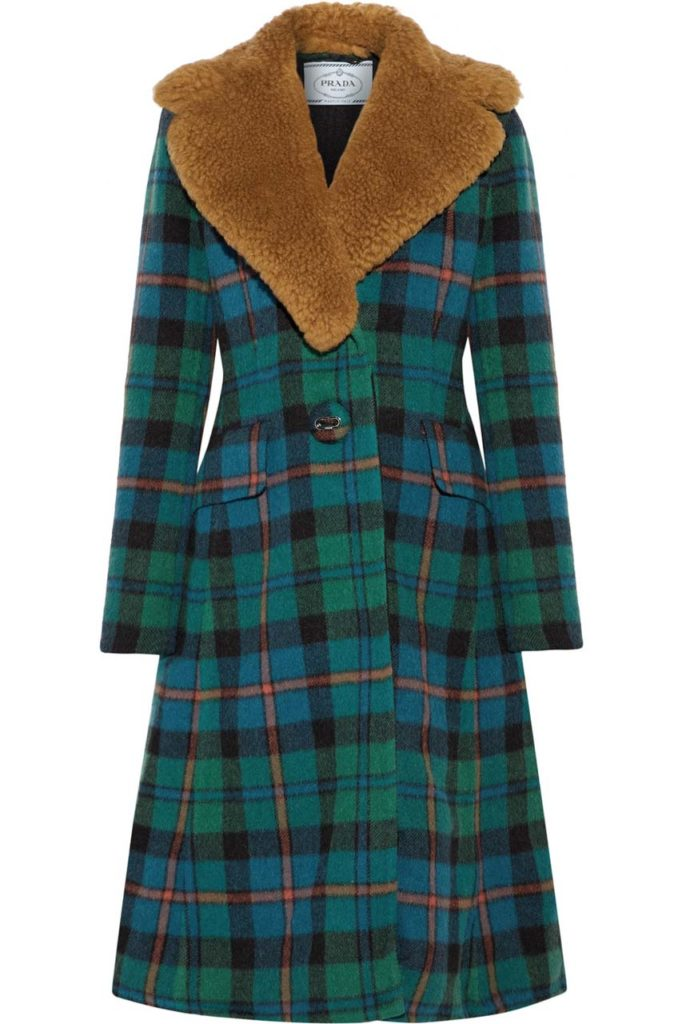 Prada Shearling-Trimmed Tartan Wool and Alpaca-Blend Coat