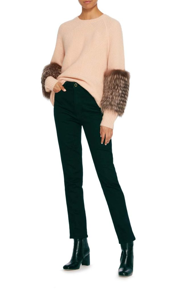 Sally LaPointe Rib Knit Fur Sleeve Pullover2