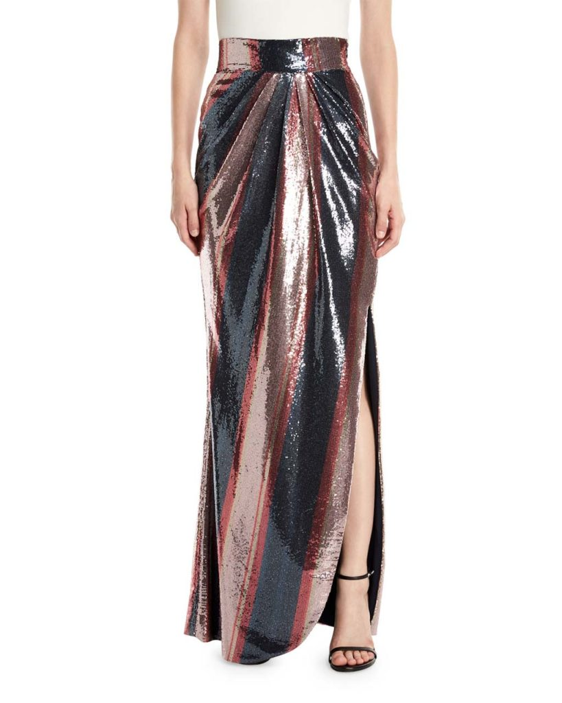 Johanna Ortiz Opal Sequin-Striped Maxi Skirt