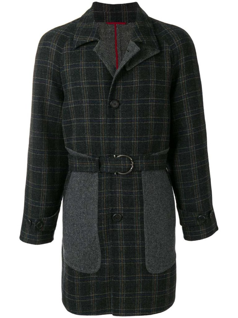 Plaid Wool Belted Long Coat_1