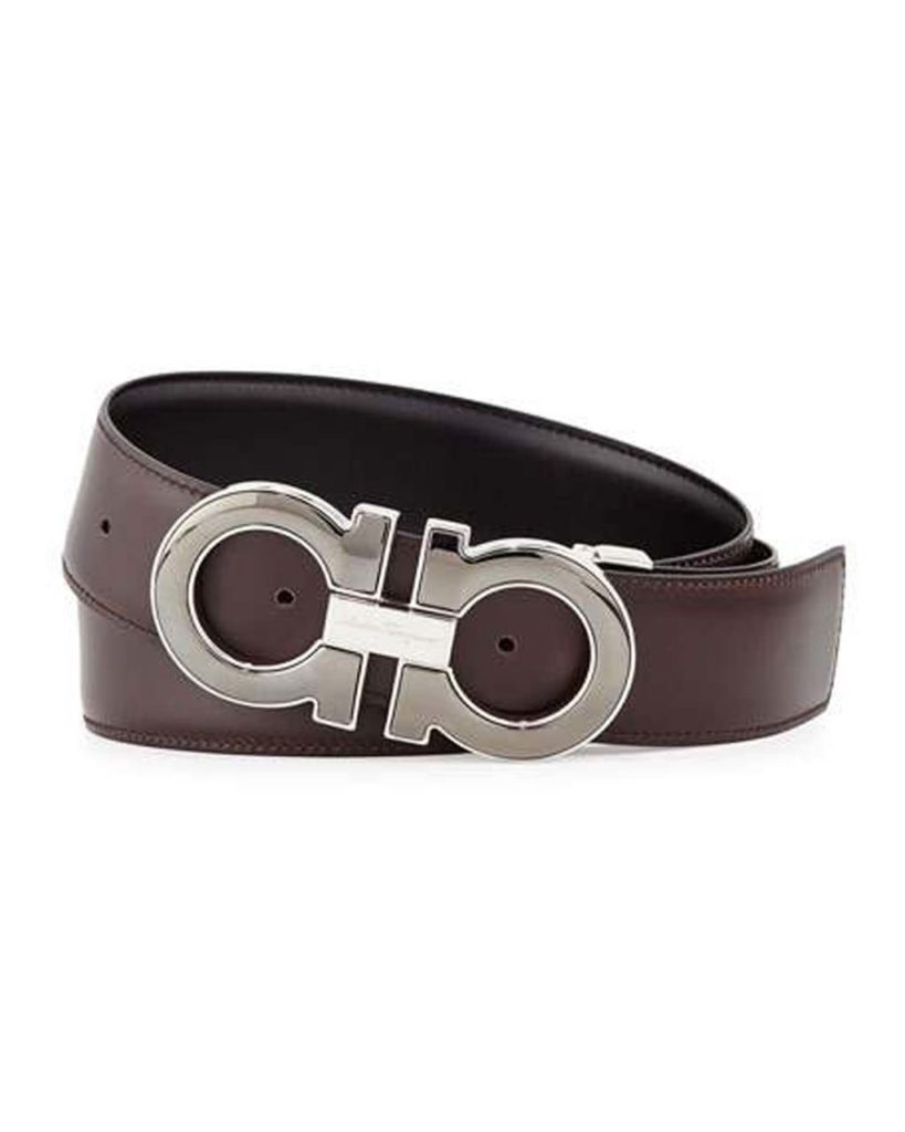 Reversible Leather Gancini-Buckle Belt