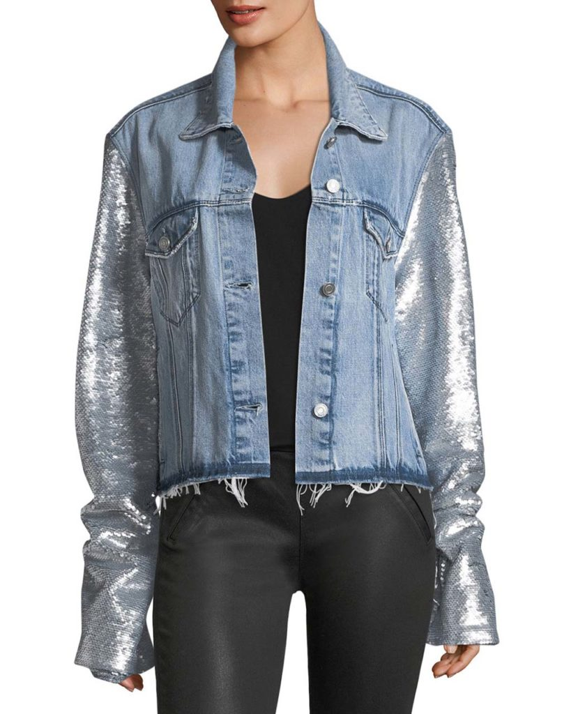 RtA Haylee Button-Front Denim Jacket w_ Sequin Sleeves