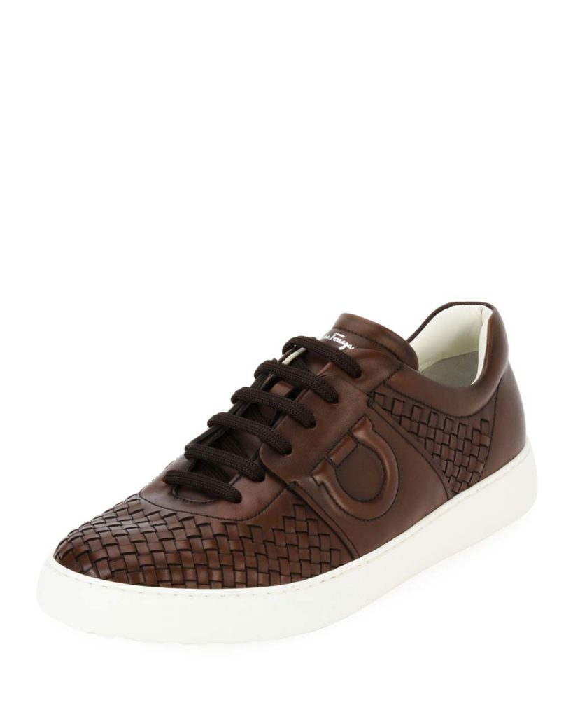 _Woven Leather Low-Top Sneaker