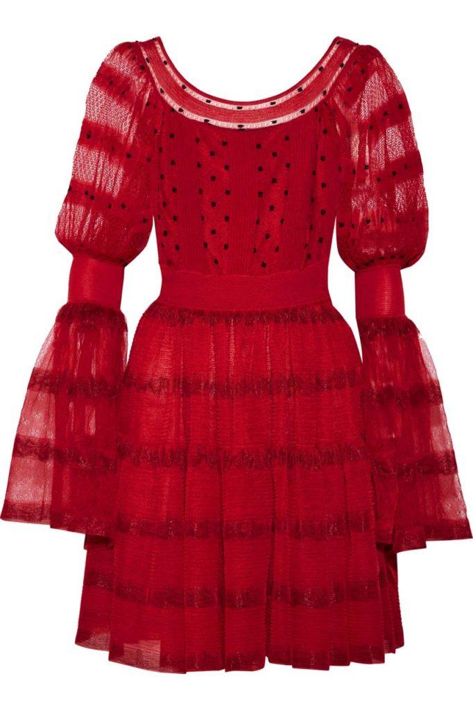 Alexander McQueen Stretch-Knit Paneled Silk-Blend Point d'Esprit Mini Dress_1