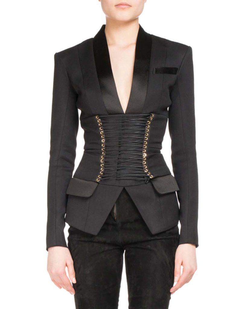 Balmain Corset-Belt Tuxedo Jacket