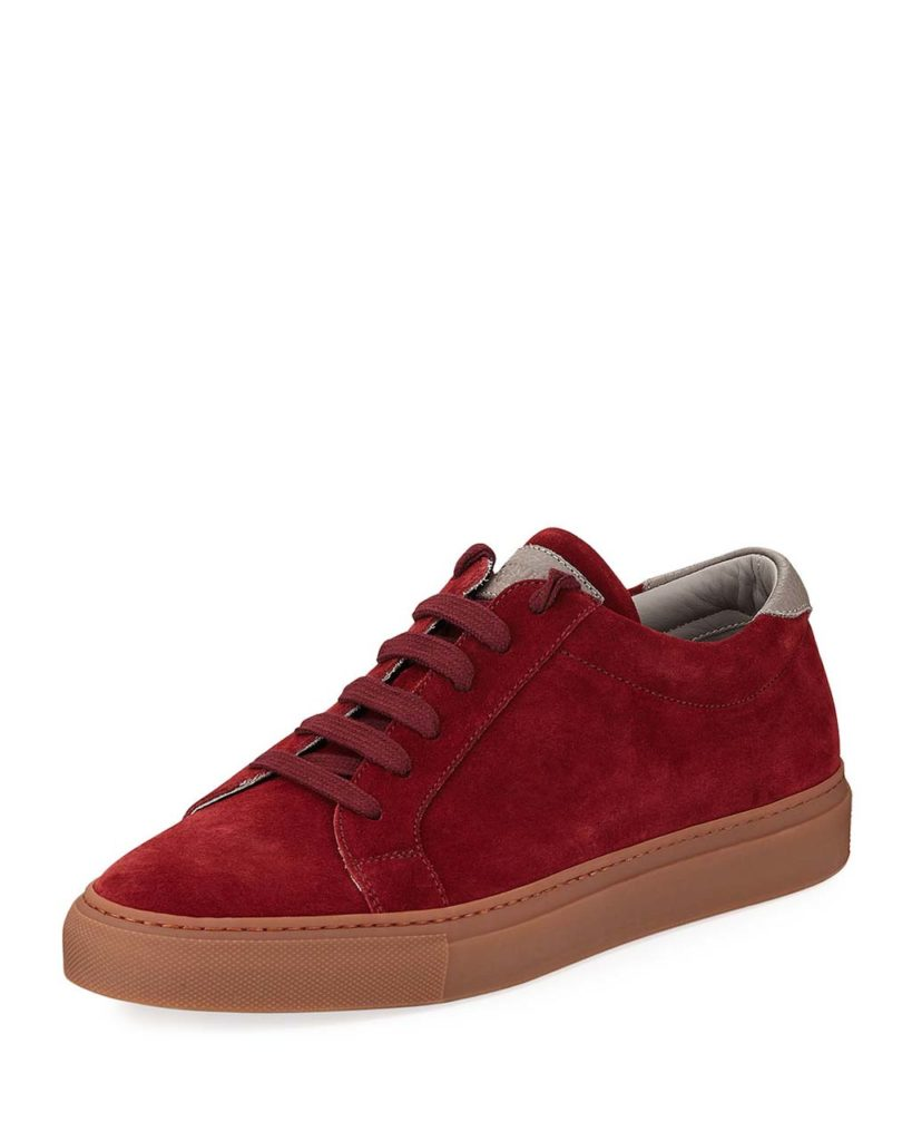 Brunello Cucinelli Men's Suede Lace-Up Sneaker