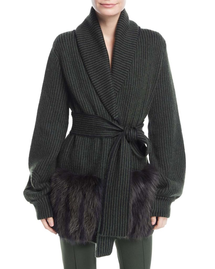 Fendi Knit Wrap Sweater w_Fur Pockets