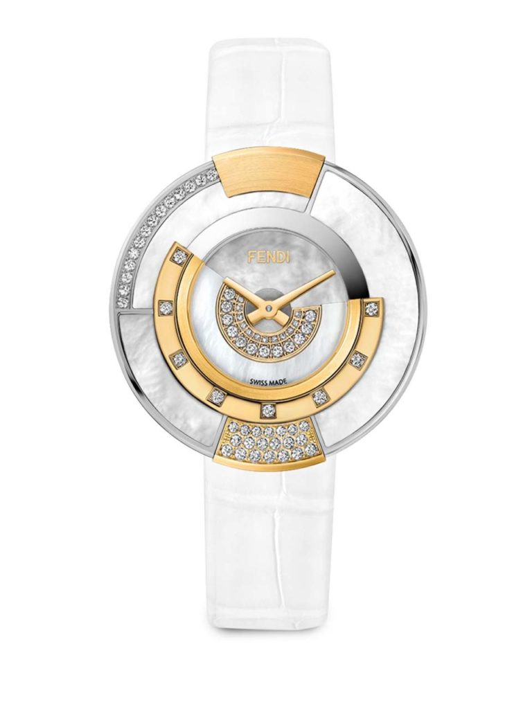 Fendi Policromia Diamond, Mother-Of-Pearl & Alligator Strap Watch