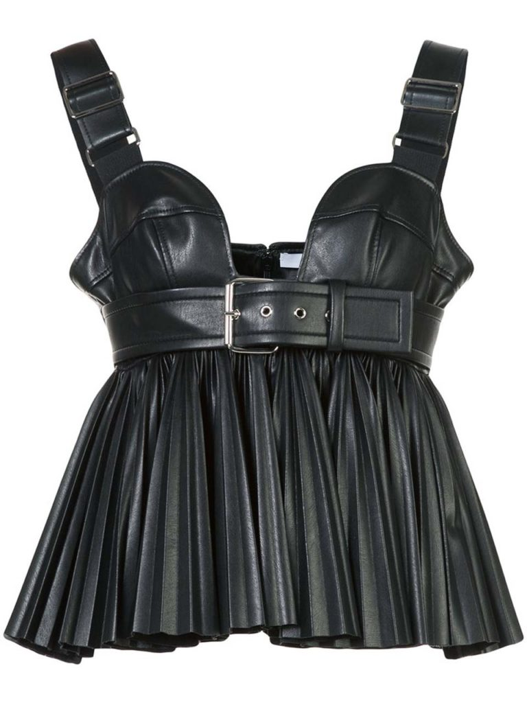 Givenchy Faux-Leather Pleated Bustier with Buckle