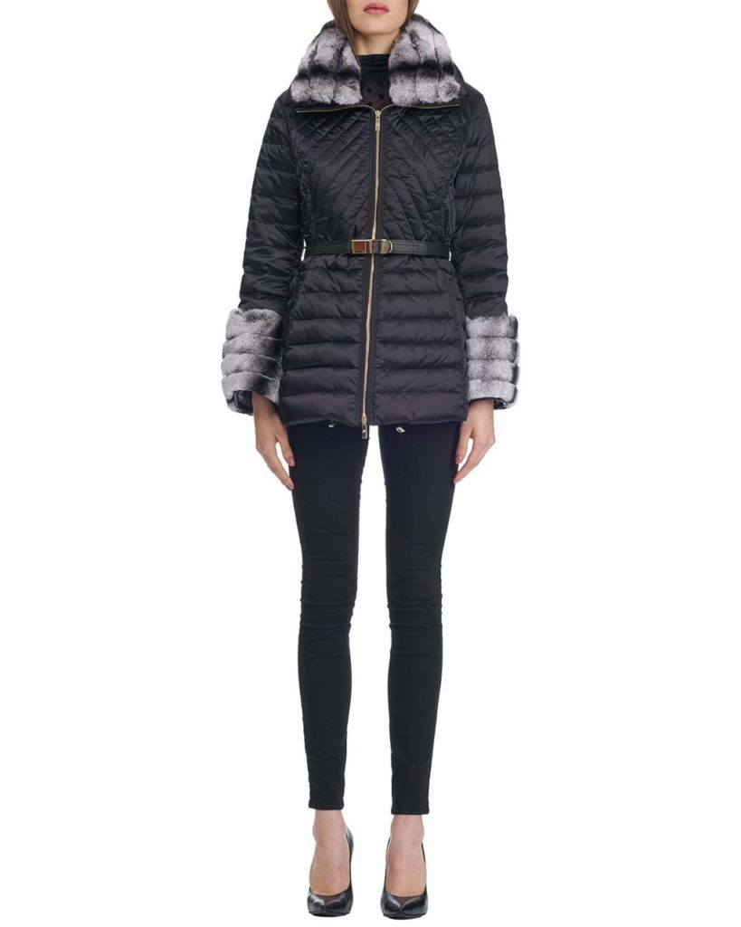 _Gorski Zip-Front Belted Quilted Après-Ski Jacket with Rex Rabbit Fur