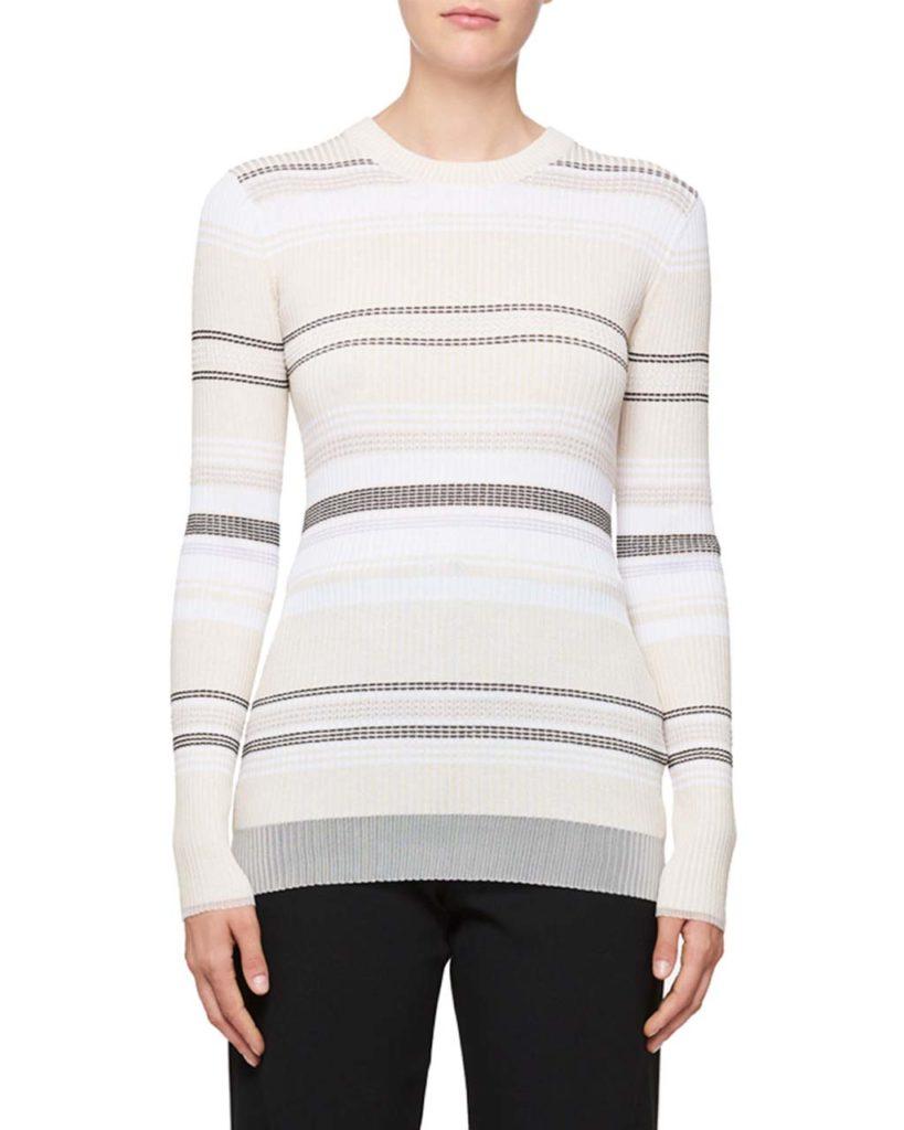 Proenza Schouler Long-Sleeve Stripe Ribbed Sweater