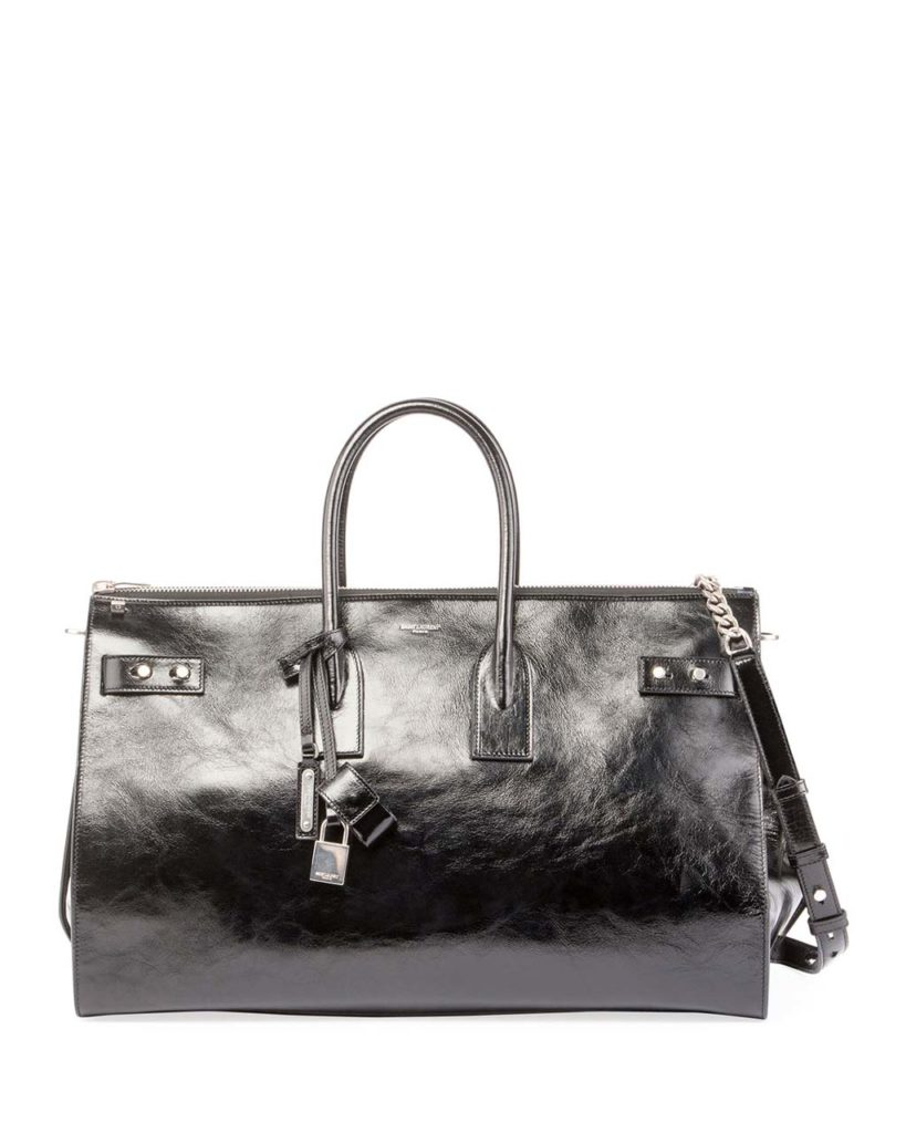Saint Laurent Sac de Jour Crinkle Leather Travel Duffel Bag