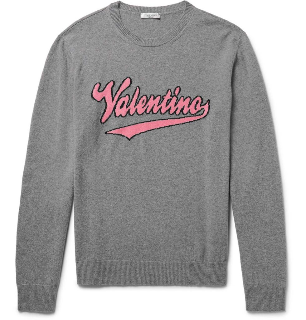Valentino Slim-Fit Intarsia Mélange Virgin Wool And Cashmere-Blend Sweater_1