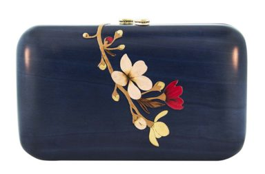 Silvia Furmanovich Blue Marquetry Flowers Clutch