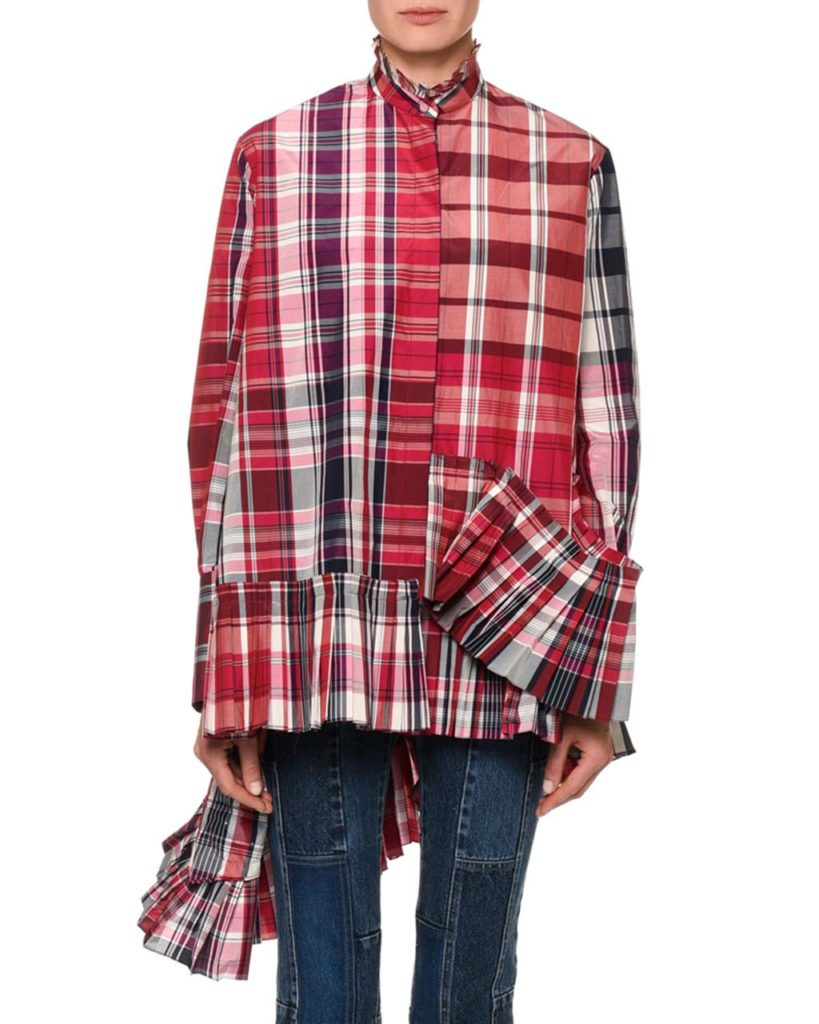 Alexander McQueen Oversized Pleated Plaid Blouse