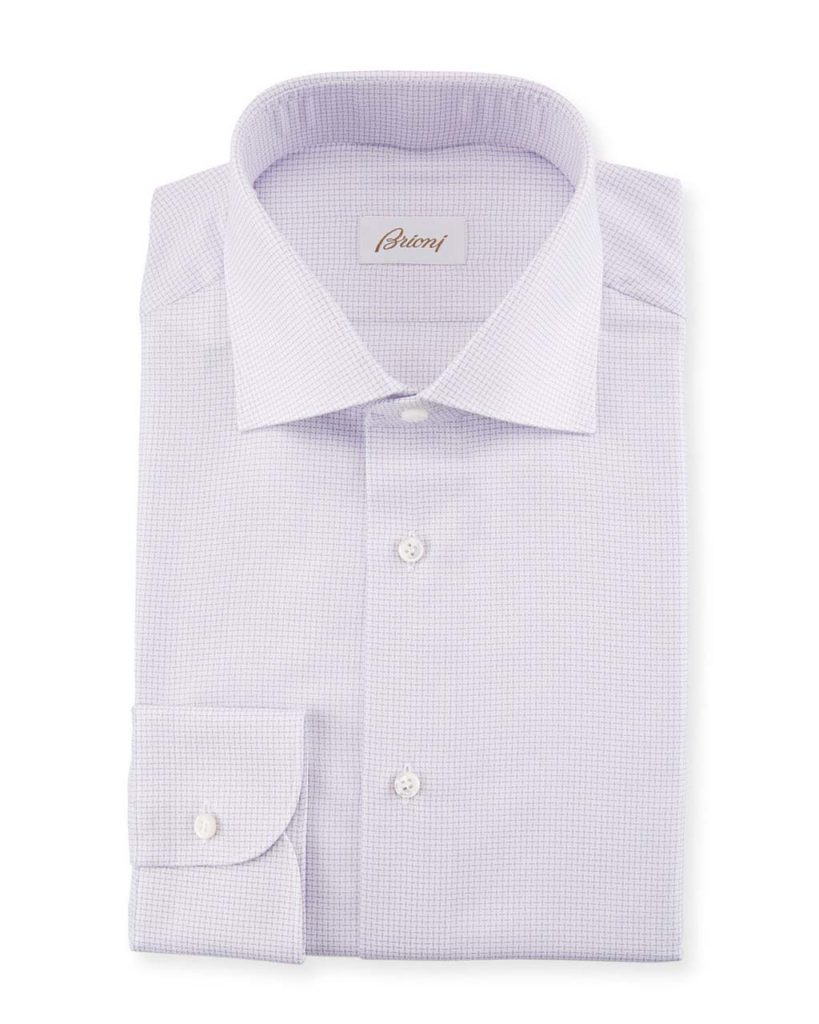 Brioni Basketweave Cotton-Silk Dress Shirt