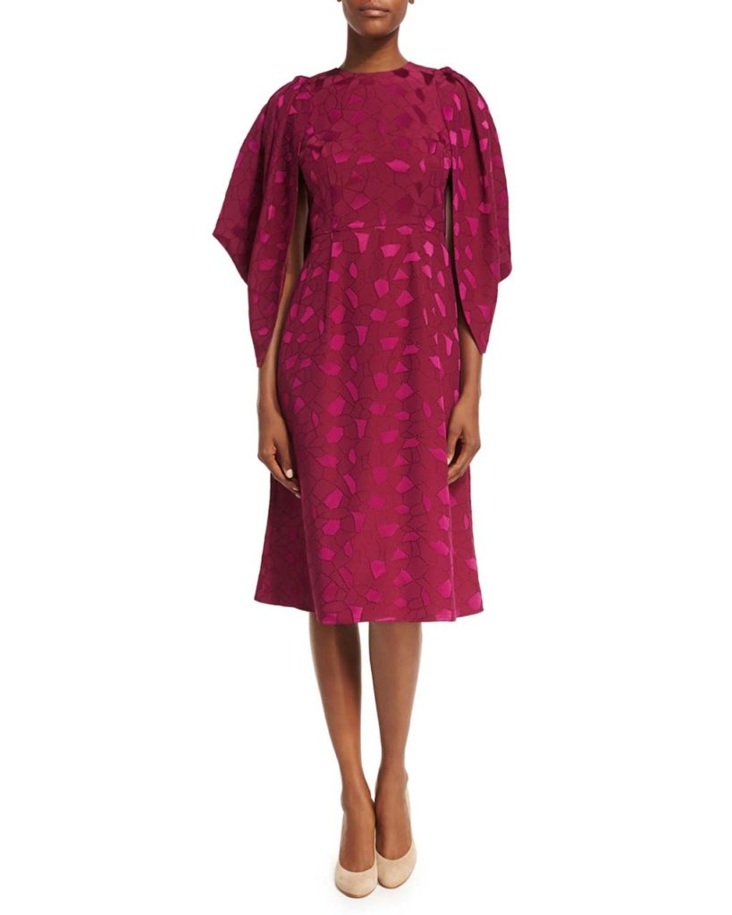 Co Cocoon-Sleeve Mosaic Jacquard Midi Dress