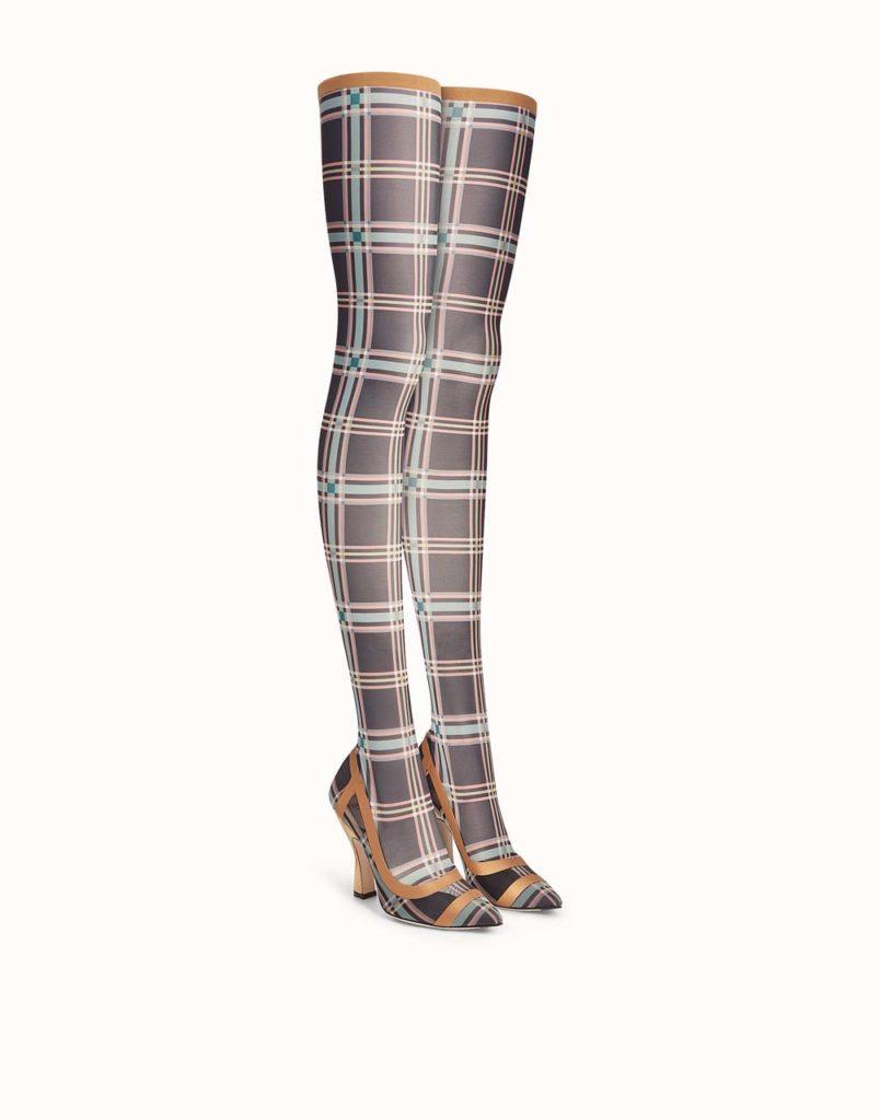 Fendi Plaid Thigh High Boots_1
