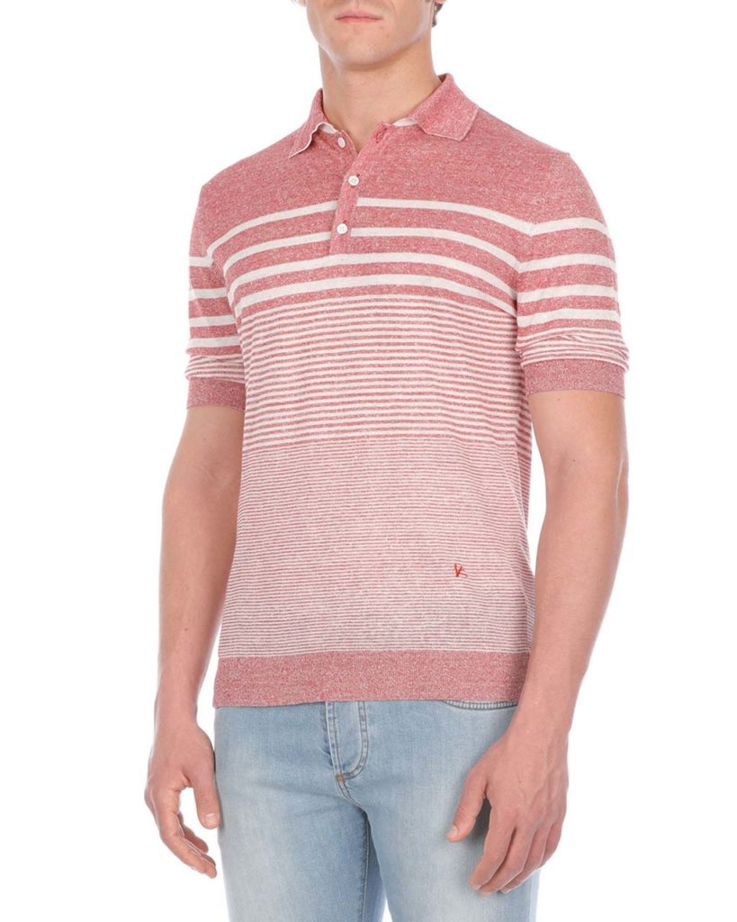 Isaia Multi-Striped Linen-Blend Polo Shirt