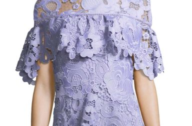 Lela Rose Flounced Short-Sleeve Lace Top