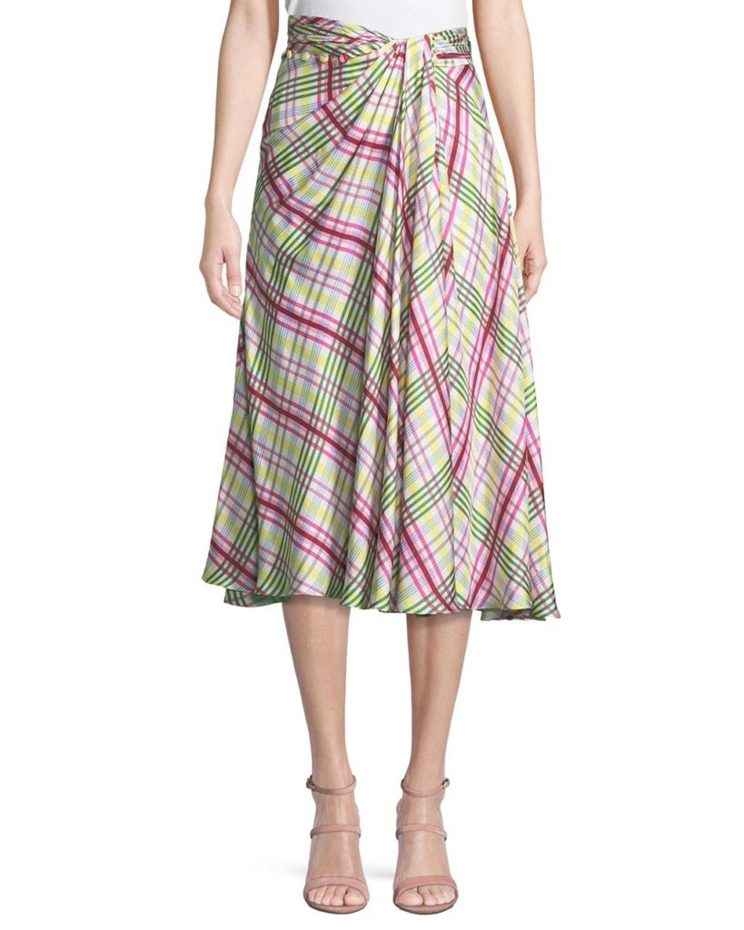 Prabal Gurung Plaid Silk Twill Midi Skirt_1