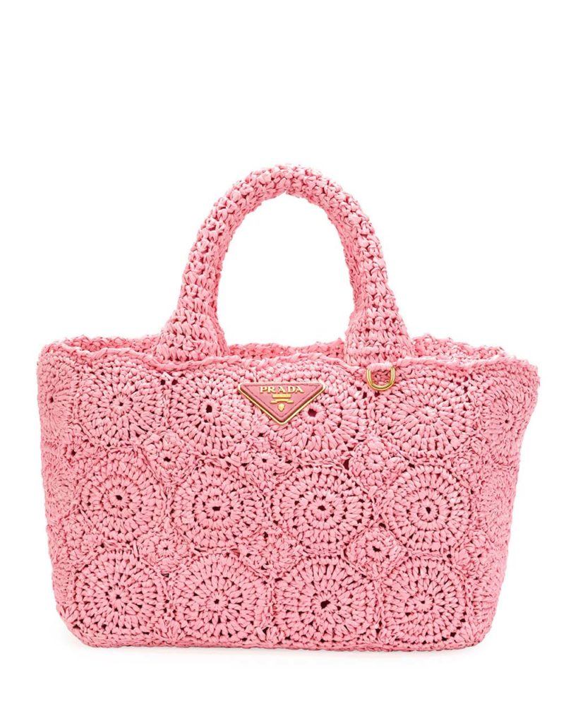 Prada Raffia Circle Tote Bag_1