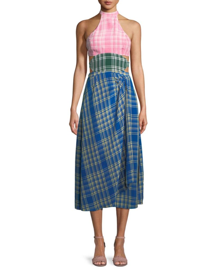 Rosie Assoulin Colorblock Plaid Halter Midi Dress_1